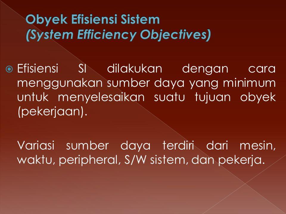  Efisiensi SI dilakukan dengan cara menggunakan sumber daya yang minimum untuk menyelesaikan suatu tujuan obyek (pekerjaan). Variasi sumber daya terd
