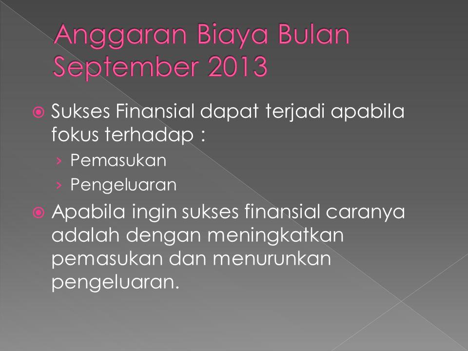  Sukses Finansial dapat terjadi apabila fokus terhadap : › Pemasukan › Pengeluaran  Apabila ingin sukses finansial caranya adalah dengan meningkatka