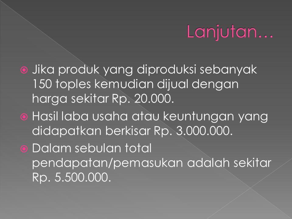  Jika produk yang diproduksi sebanyak 150 toples kemudian dijual dengan harga sekitar Rp. 20.000.  Hasil laba usaha atau keuntungan yang didapatkan