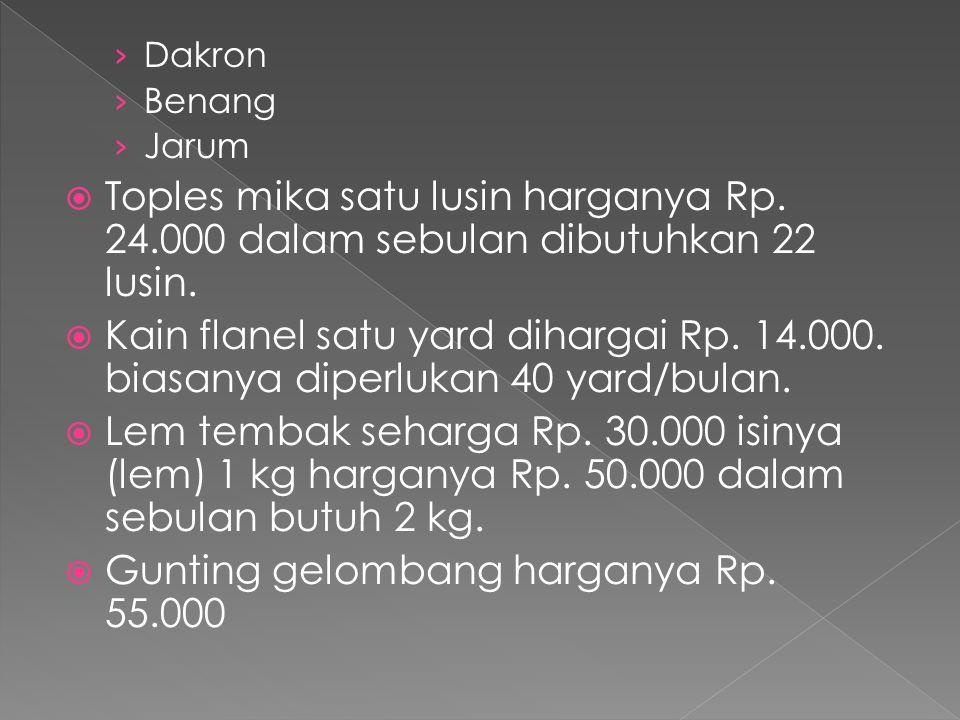 › Dakron › Benang › Jarum  Toples mika satu lusin harganya Rp. 24.000 dalam sebulan dibutuhkan 22 lusin.  Kain flanel satu yard dihargai Rp. 14.000.