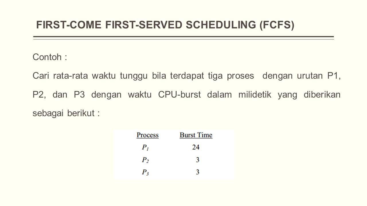 FIRST-COME FIRST-SERVED SCHEDULING (FCFS) Contoh : Cari rata-rata waktu tunggu bila terdapat tiga proses dengan urutan P1, P2, dan P3 dengan waktu CPU-burst dalam milidetik yang diberikan sebagai berikut :