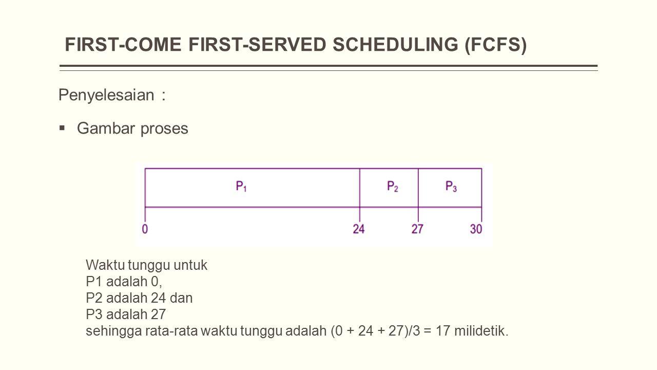 FIRST-COME FIRST-SERVED SCHEDULING (FCFS) Penyelesaian :  Gambar proses Waktu tunggu untuk P1 adalah 0, P2 adalah 24 dan P3 adalah 27 sehingga rata-rata waktu tunggu adalah (0 + 24 + 27)/3 = 17 milidetik.