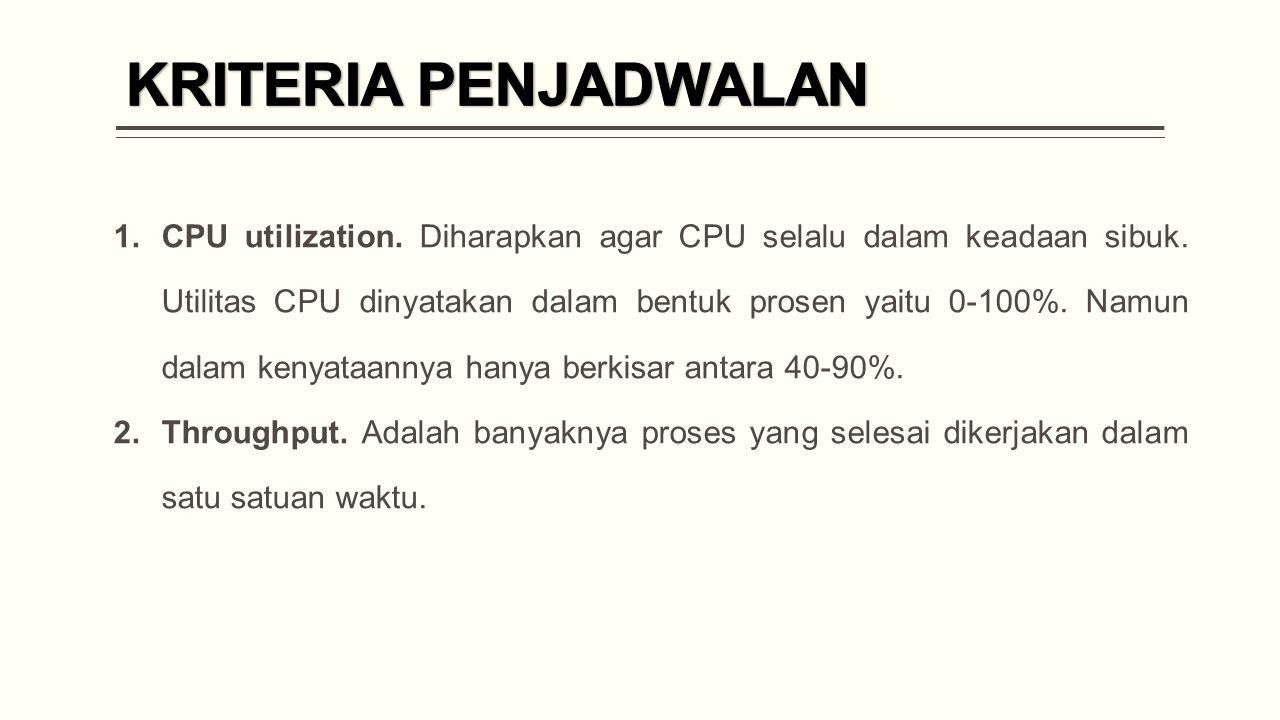 1.CPU utilization.Diharapkan agar CPU selalu dalam keadaan sibuk.