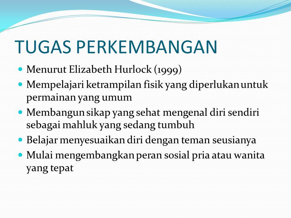 TUGAS PERKEMBANGAN Menurut Elizabeth Hurlock (1999) Mempelajari ketrampilan fisik yang diperlukan untuk permainan yang umum Membangun sikap yang sehat