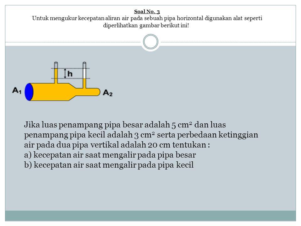 Pembahasan a) kecepatan air saat mengalir pada pipa besar v 1 = A 2 √ [(2gh) : (A 1 2 − A 2 2 ) ] v 1 = (3) √ [ (2 x 10 x 0,2) : (5 2 − 3 2 ) ] v 1 = 3 √ [ (4) : (16) ] v 1 = 1,5 m/s Tips : Satuan A biarkan dalam cm 2, g dan h harus dalam m/s 2 dan m.
