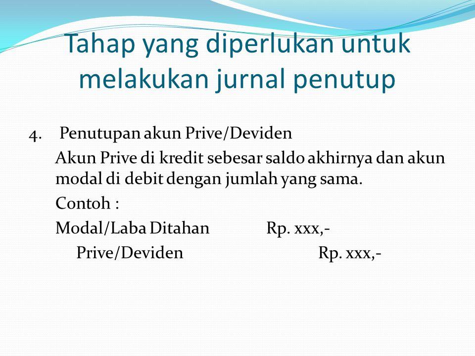 Tahap yang diperlukan untuk melakukan jurnal penutup 4. Penutupan akun Prive/Deviden Akun Prive di kredit sebesar saldo akhirnya dan akun modal di deb