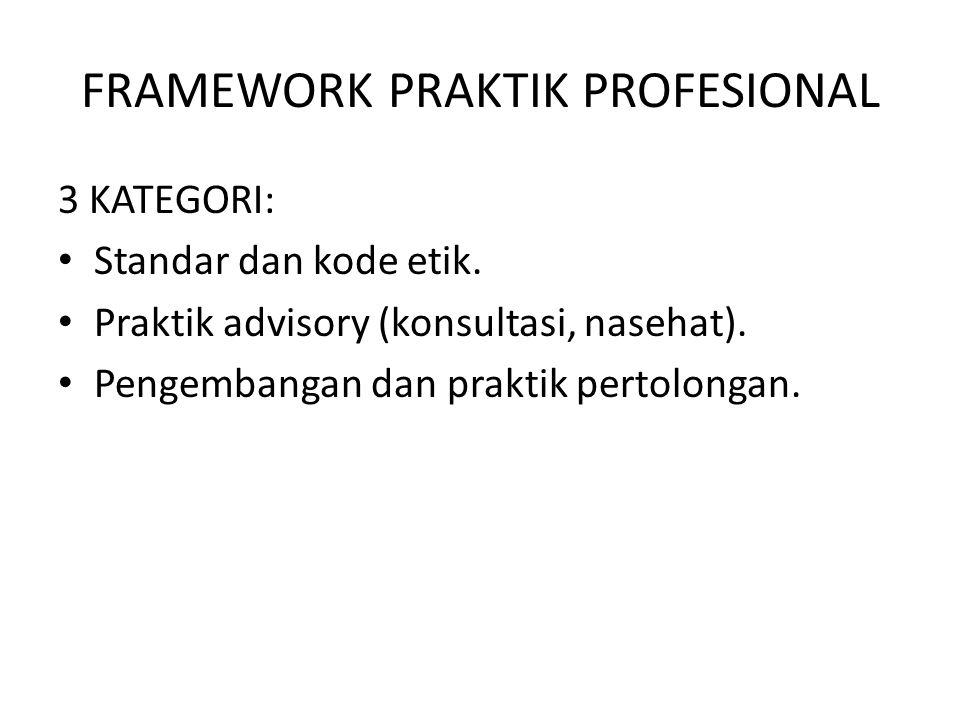 FRAMEWORK PRAKTIK PROFESIONAL 3 KATEGORI: Standar dan kode etik. Praktik advisory (konsultasi, nasehat). Pengembangan dan praktik pertolongan.
