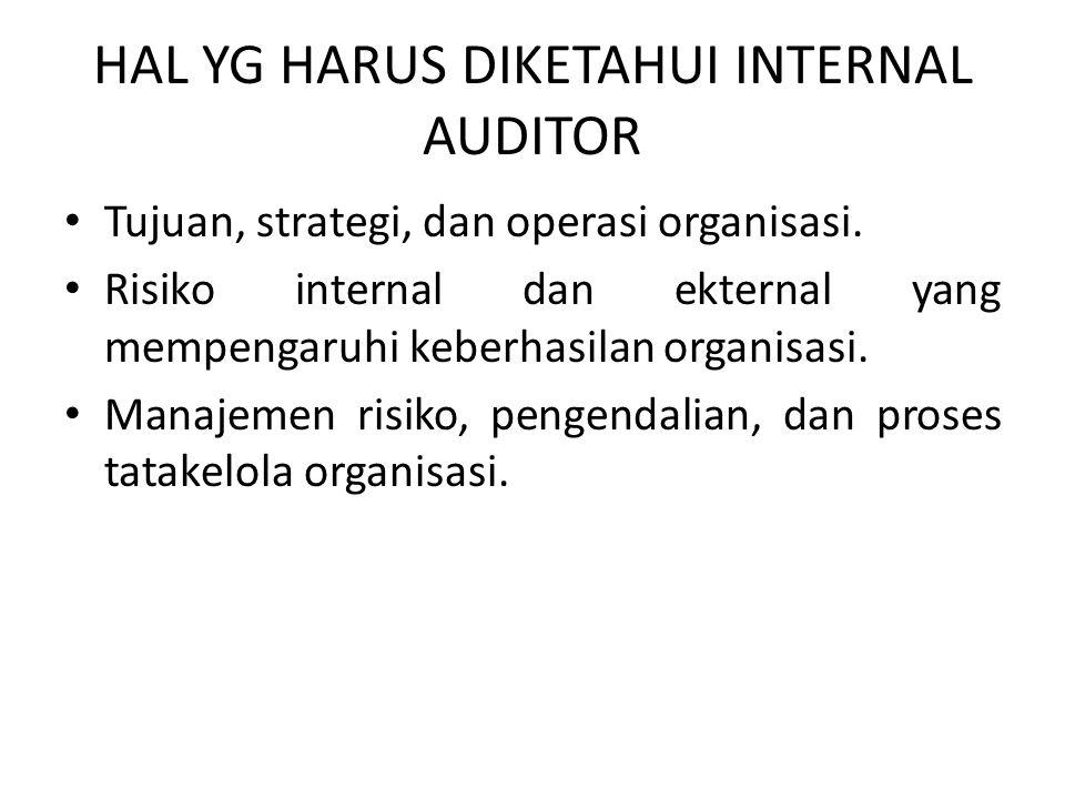 HAL YG HARUS DIKETAHUI INTERNAL AUDITOR Tujuan, strategi, dan operasi organisasi. Risiko internal dan ekternal yang mempengaruhi keberhasilan organisa
