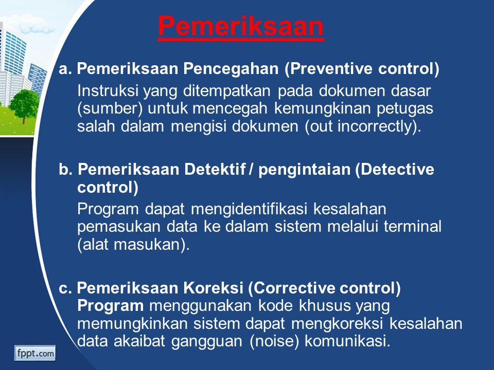 Pemeriksaan a. Pemeriksaan Pencegahan (Preventive control) Instruksi yang ditempatkan pada dokumen dasar (sumber) untuk mencegah kemungkinan petugas s