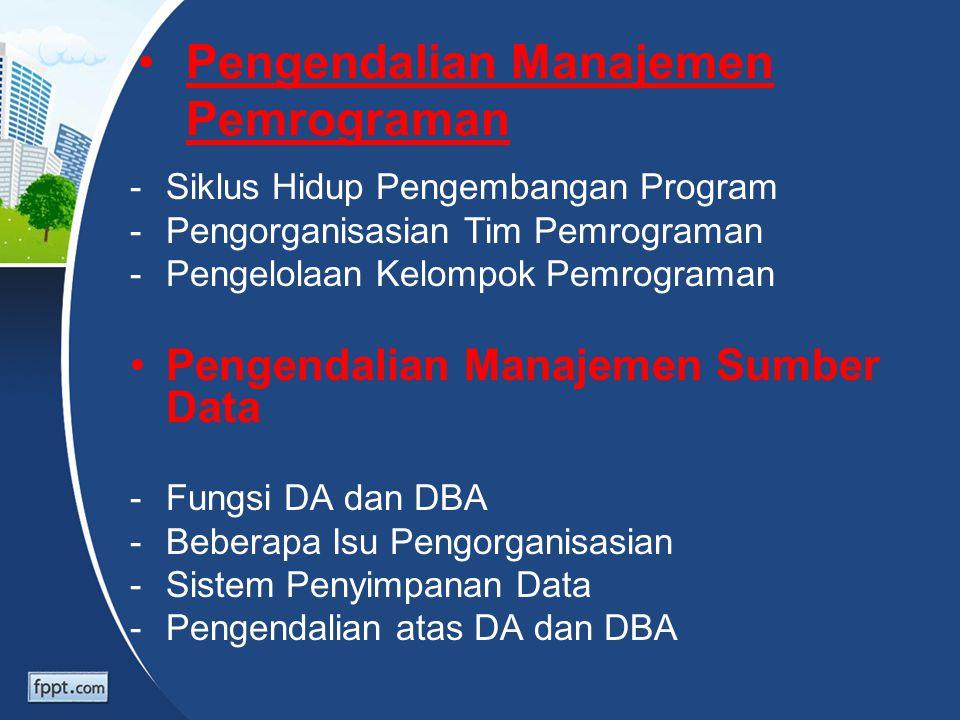 Pengendalian Manajemen Pemrograman -Siklus Hidup Pengembangan Program -Pengorganisasian Tim Pemrograman -Pengelolaan Kelompok Pemrograman Pengendalian