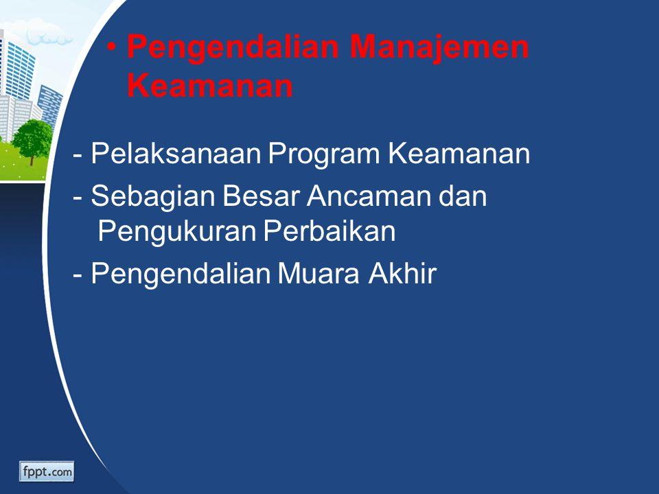 Pengendalian Manajemen Keamanan - Pelaksanaan Program Keamanan - Sebagian Besar Ancaman dan Pengukuran Perbaikan - Pengendalian Muara Akhir
