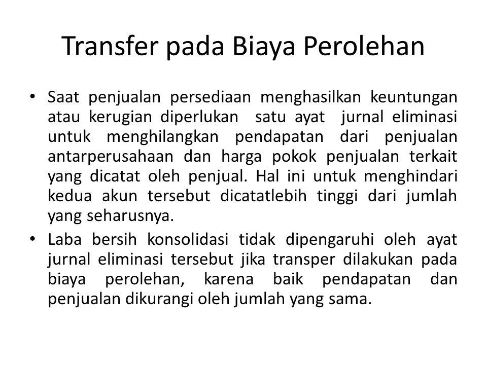 Transfer pada Biaya Perolehan Saat penjualan persediaan menghasilkan keuntungan atau kerugian diperlukan satu ayat jurnal eliminasi untuk menghilangka