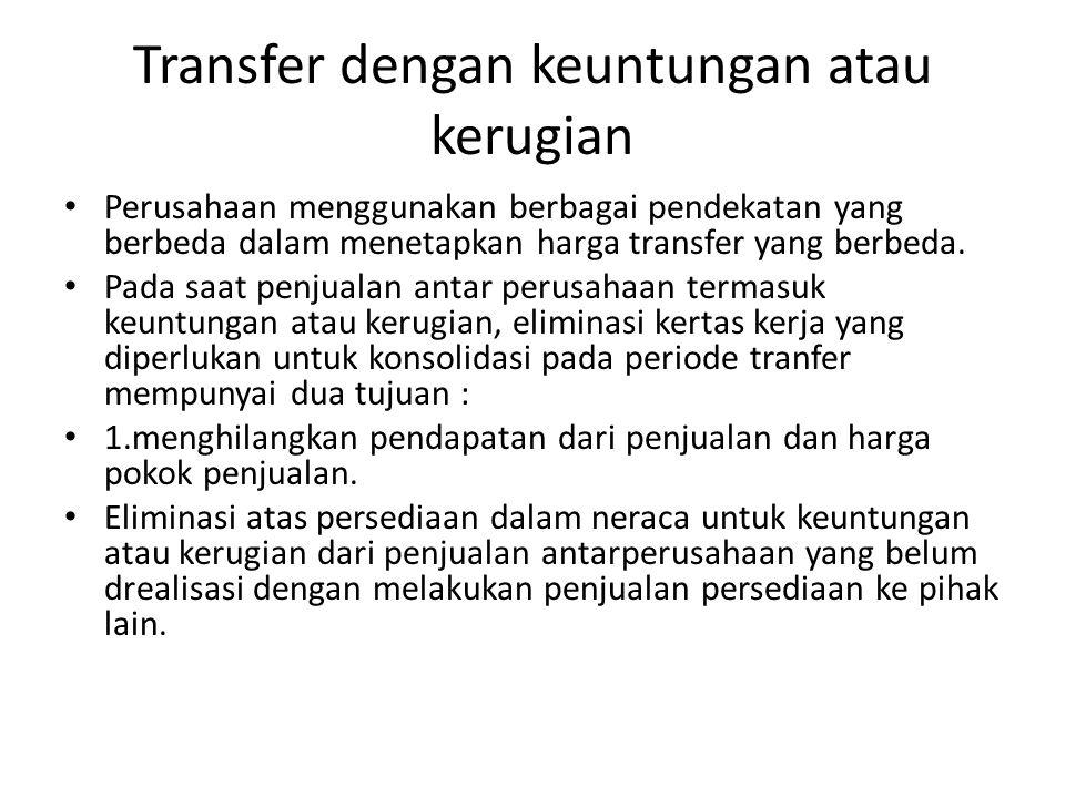 Transfer dengan keuntungan atau kerugian Perusahaan menggunakan berbagai pendekatan yang berbeda dalam menetapkan harga transfer yang berbeda. Pada sa