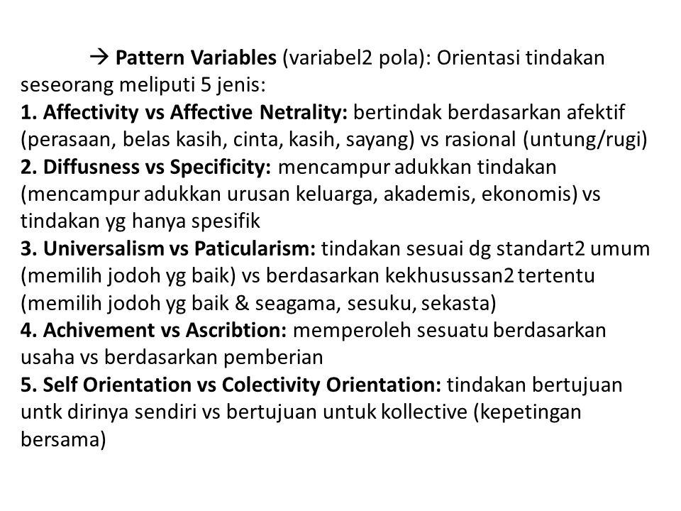  Pattern Variables (variabel2 pola): Orientasi tindakan seseorang meliputi 5 jenis: 1. Affectivity vs Affective Netrality: bertindak berdasarkan afek