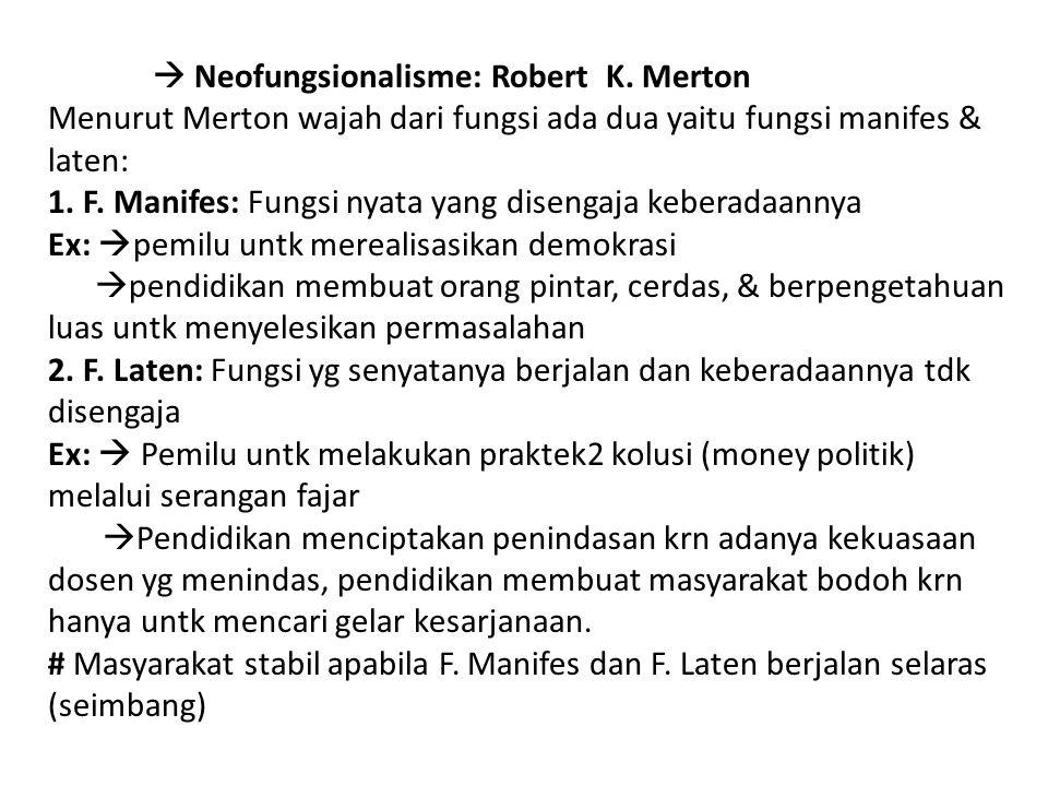  Neofungsionalisme: Robert K. Merton Menurut Merton wajah dari fungsi ada dua yaitu fungsi manifes & laten: 1. F. Manifes: Fungsi nyata yang disengaj