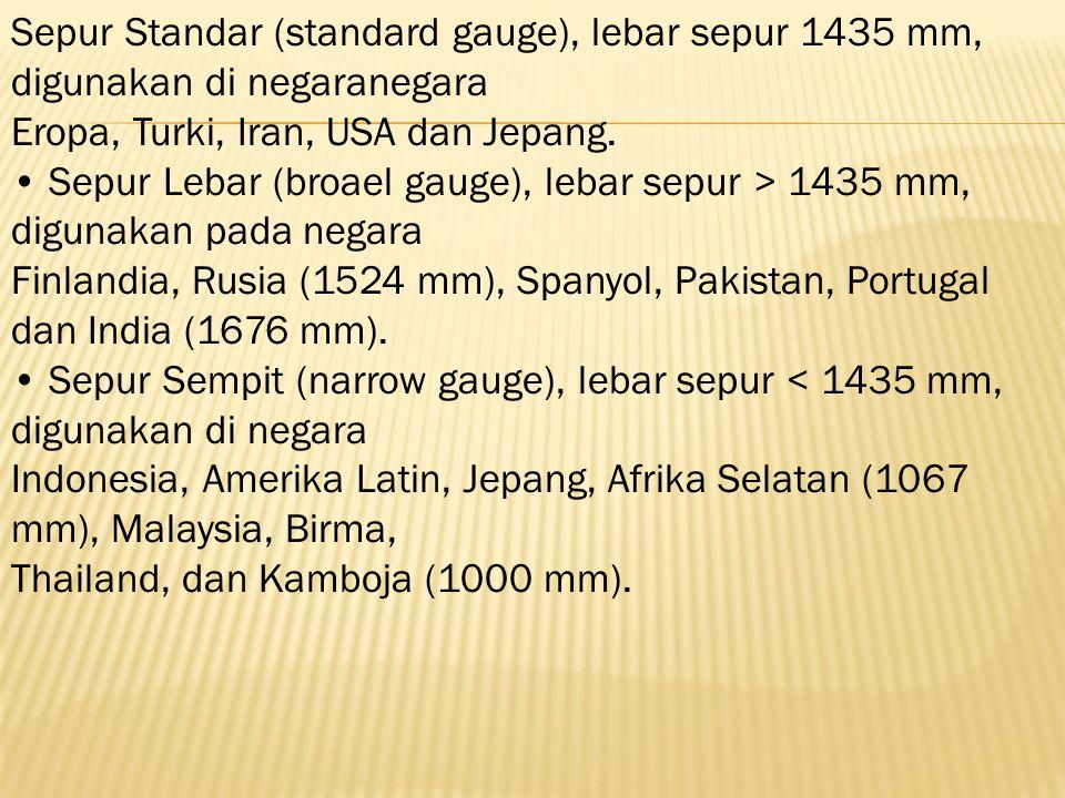 Sepur Standar (standard gauge), lebar sepur 1435 mm, digunakan di negaranegara Eropa, Turki, Iran, USA dan Jepang. Sepur Lebar (broael gauge), lebar s