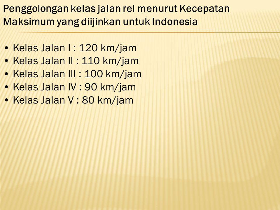 Penggolongan kelas jalan rel menurut Kecepatan Maksimum yang diijinkan untuk Indonesia Kelas Jalan I : 120 km/jam Kelas Jalan II : 110 km/jam Kelas Ja