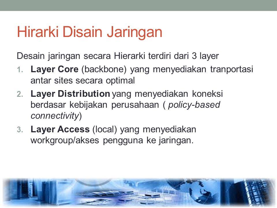 Hirarki Disain Jaringan Desain jaringan secara Hierarki terdiri dari 3 layer 1. Layer Core (backbone) yang menyediakan tranportasi antar sites secara