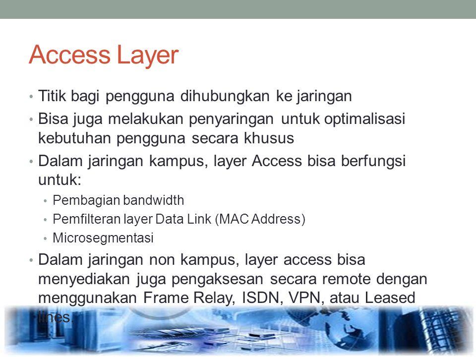 Access Layer Titik bagi pengguna dihubungkan ke jaringan Bisa juga melakukan penyaringan untuk optimalisasi kebutuhan pengguna secara khusus Dalam jar