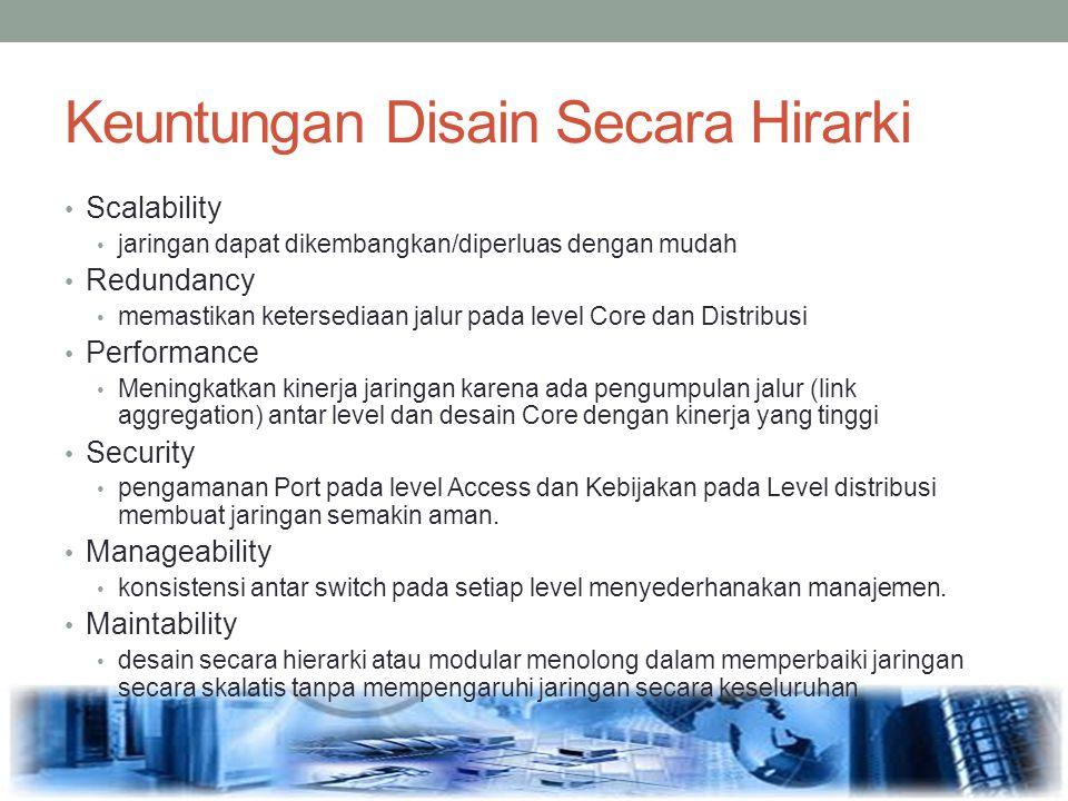 Keuntungan Disain Secara Hirarki Scalability jaringan dapat dikembangkan/diperluas dengan mudah Redundancy memastikan ketersediaan jalur pada level Co