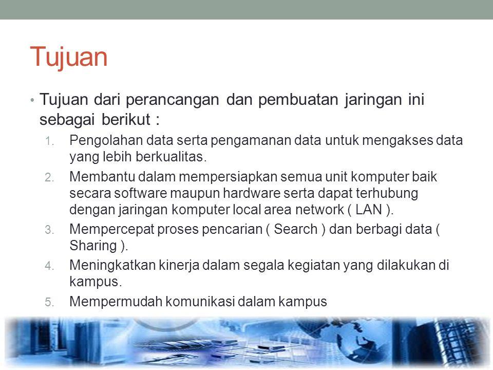 Tujuan Tujuan dari perancangan dan pembuatan jaringan ini sebagai berikut : 1. Pengolahan data serta pengamanan data untuk mengakses data yang lebih b