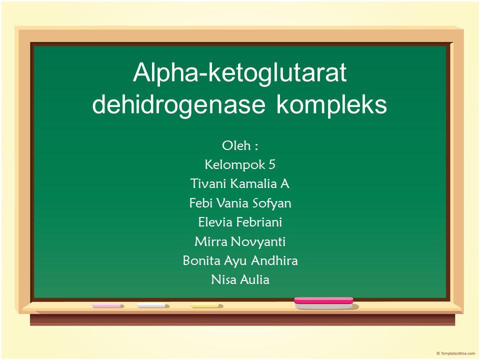Alpha-ketoglutarat dehidrogenase kompleks Oleh : Kelompok 5 Tivani Kamalia A Febi Vania Sofyan Elevia Febriani Mirra Novyanti Bonita Ayu Andhira Nisa