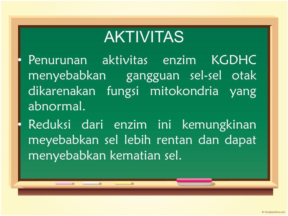 AKTIVITAS Penurunan aktivitas enzim KGDHC menyebabkan gangguan sel-sel otak dikarenakan fungsi mitokondria yang abnormal. Reduksi dari enzim ini kemun