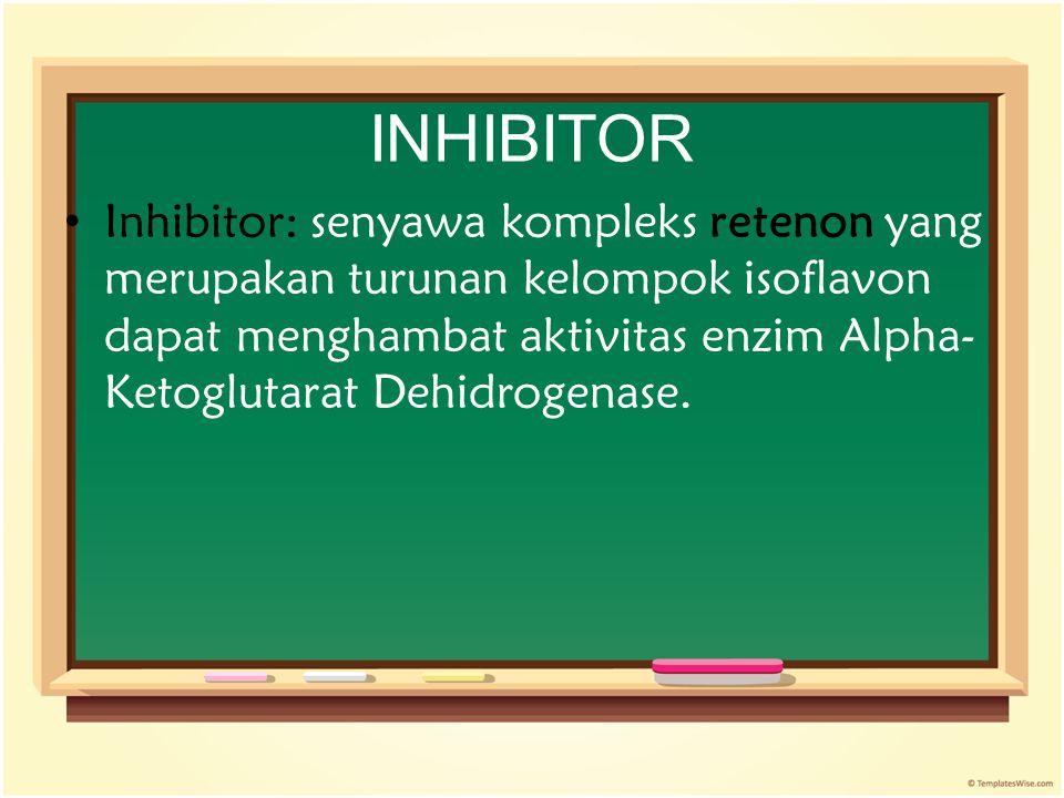 INHIBITOR Inhibitor: senyawa kompleks retenon yang merupakan turunan kelompok isoflavon dapat menghambat aktivitas enzim Alpha- Ketoglutarat Dehidroge