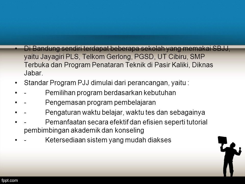 Di Bandung sendiri terdapat beberapa sekolah yang memakai SBJJ, yaitu Jayagiri PLS, Telkom Gerlong, PGSD, UT Cibiru, SMP Terbuka dan Program Penataran Teknik di Pasir Kaliki, Diknas Jabar.