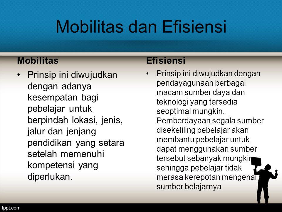 Mobilitas dan Efisiensi Mobilitas Prinsip ini diwujudkan dengan adanya kesempatan bagi pebelajar untuk berpindah lokasi, jenis, jalur dan jenjang pendidikan yang setara setelah memenuhi kompetensi yang diperlukan.