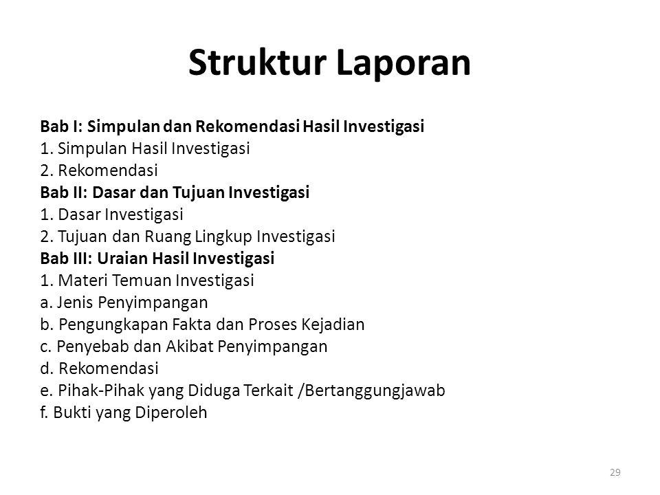 Struktur Laporan Bab I: Simpulan dan Rekomendasi Hasil Investigasi 1. Simpulan Hasil Investigasi 2. Rekomendasi Bab II: Dasar dan Tujuan Investigasi 1