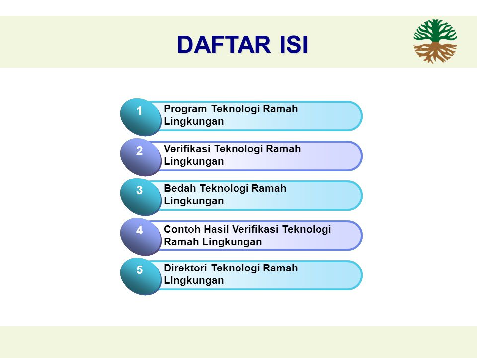 DAFTAR ISI Click to add Title 1 Program Teknologi Ramah Lingkungan 1 Click to add Title 2 Verifikasi Teknologi Ramah Lingkungan 2 Click to add Title 1