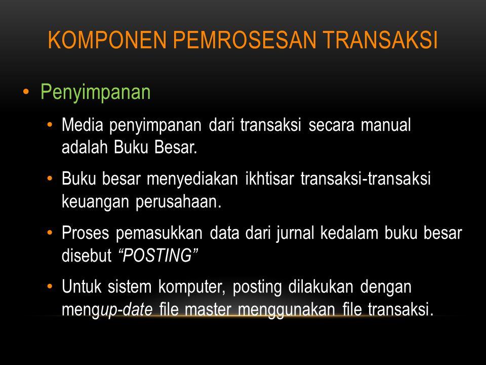 KOMPONEN PEMROSESAN TRANSAKSI Penyimpanan Media penyimpanan dari transaksi secara manual adalah Buku Besar.
