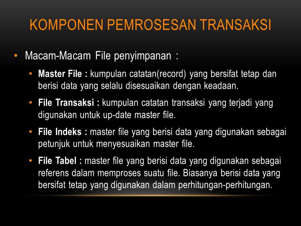 KOMPONEN PEMROSESAN TRANSAKSI Macam-Macam File penyimpanan : Master File : kumpulan catatan(record) yang bersifat tetap dan berisi data yang selalu disesuaikan dengan keadaan.
