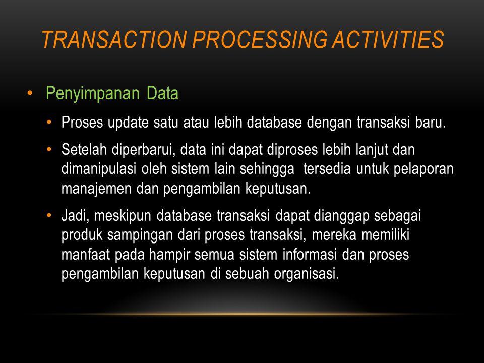 TRANSACTION PROCESSING ACTIVITIES Penyimpanan Data Proses update satu atau lebih database dengan transaksi baru.