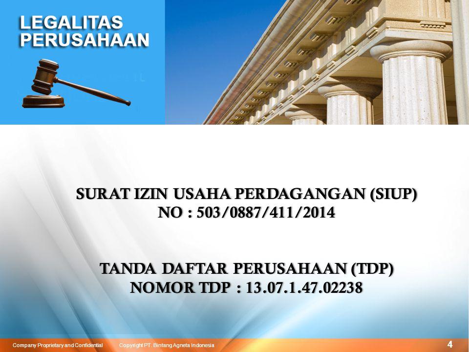 15 Company Proprietary and Confidential Copyright PT. Bintang Agneta Indonesia SERTIFIKASI PRODUK