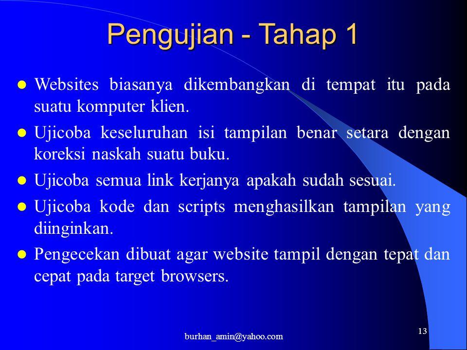 13 Pengujian - Tahap 1 Websites biasanya dikembangkan di tempat itu pada suatu komputer klien. Ujicoba keseluruhan isi tampilan benar setara dengan ko