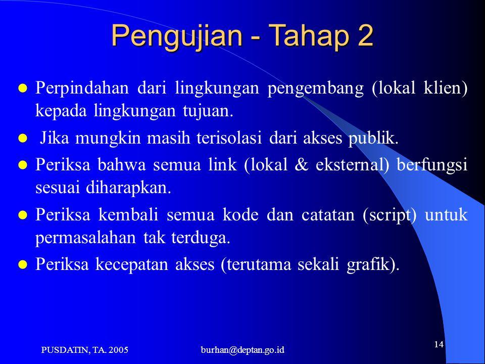 PUSDATIN, TA. 2005burhan@deptan.go.id 14 Pengujian - Tahap 2 Perpindahan dari lingkungan pengembang (lokal klien) kepada lingkungan tujuan. Jika mungk
