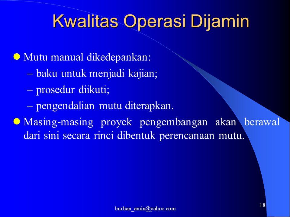 18 Kwalitas Operasi Dijamin Mutu manual dikedepankan: –baku untuk menjadi kajian; –prosedur diikuti; –pengendalian mutu diterapkan. Masing-masing proy