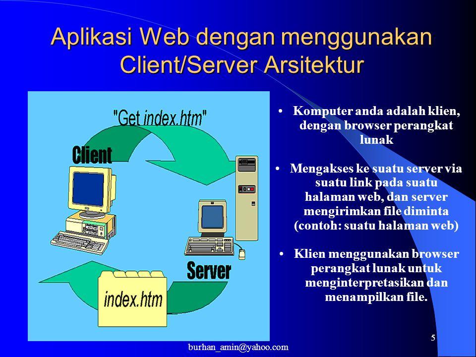 5 Aplikasi Web dengan menggunakan Client/Server Arsitektur Komputer anda adalah klien, dengan browser perangkat lunak Mengakses ke suatu server via su