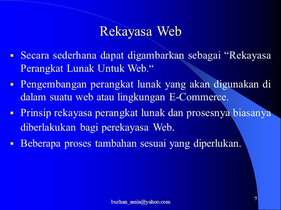 7 Rekayasa Web  Secara sederhana dapat digambarkan sebagai Rekayasa Perangkat Lunak Untuk Web.  Pengembangan perangkat lunak yang akan digunakan di dalam suatu web atau lingkungan E-Commerce.