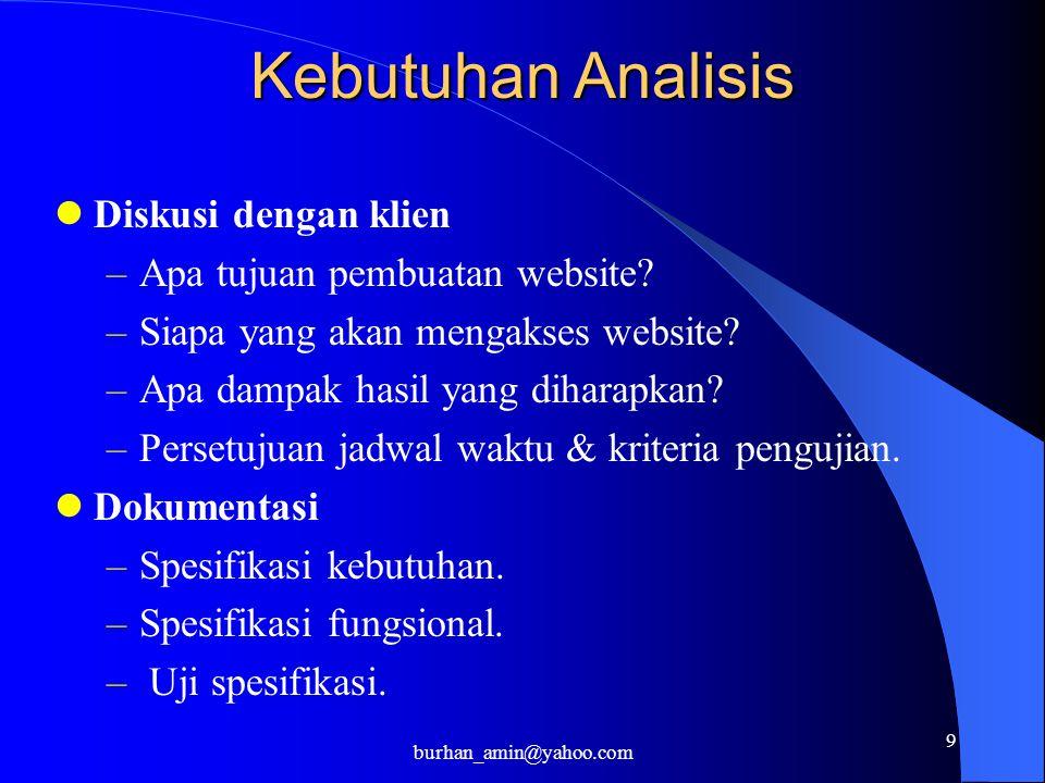 9 Kebutuhan Analisis Diskusi dengan klien –Apa tujuan pembuatan website.