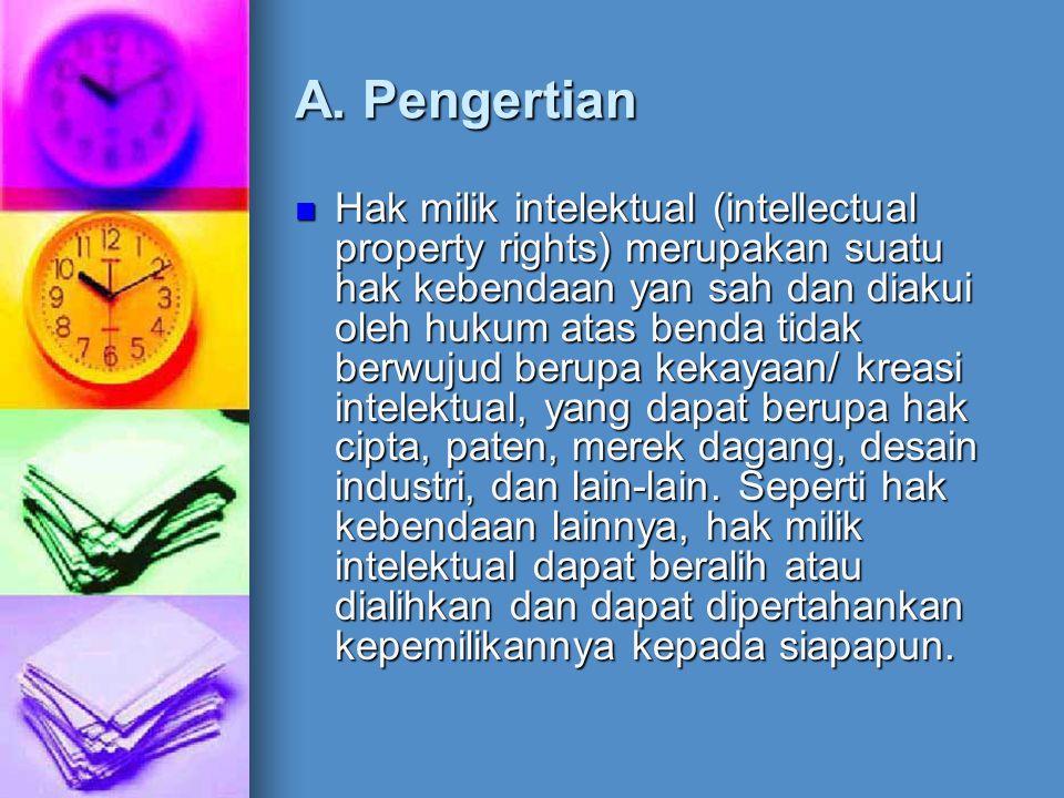 A. Pengertian Hak milik intelektual (intellectual property rights) merupakan suatu hak kebendaan yan sah dan diakui oleh hukum atas benda tidak berwuj