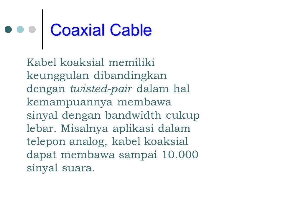 Coaxial Cable Kabel koaksial memiliki keunggulan dibandingkan dengan twisted-pair dalam hal kemampuannya membawa sinyal dengan bandwidth cukup lebar.