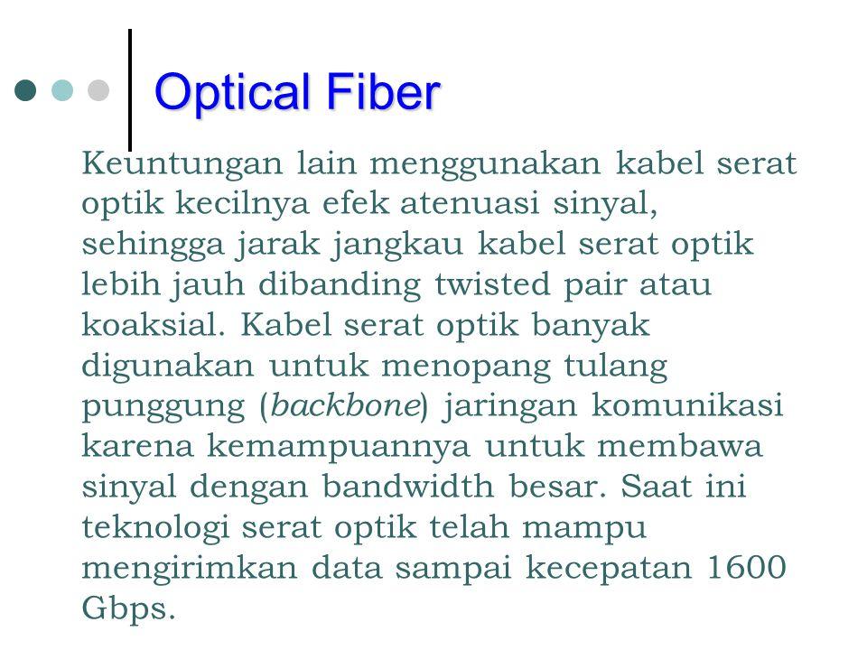 Optical Fiber Keuntungan lain menggunakan kabel serat optik kecilnya efek atenuasi sinyal, sehingga jarak jangkau kabel serat optik lebih jauh dibandi