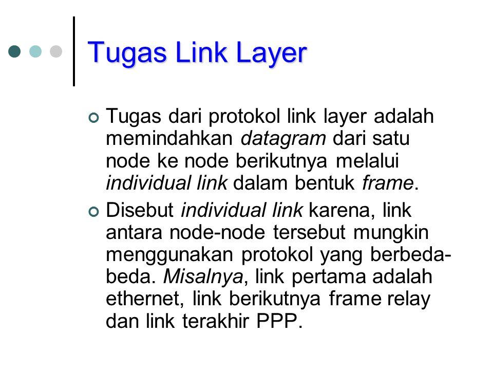 Tugas Link Layer Tugas dari protokol link layer adalah memindahkan datagram dari satu node ke node berikutnya melalui individual link dalam bentuk fra