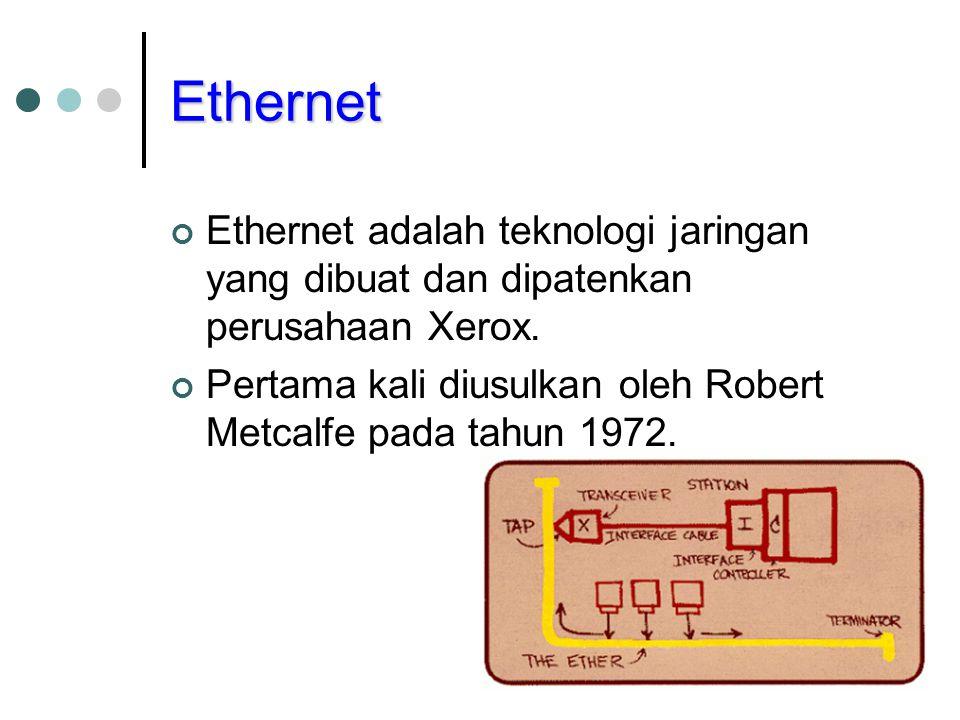 Ethernet Ethernet adalah teknologi jaringan yang dibuat dan dipatenkan perusahaan Xerox. Pertama kali diusulkan oleh Robert Metcalfe pada tahun 1972.