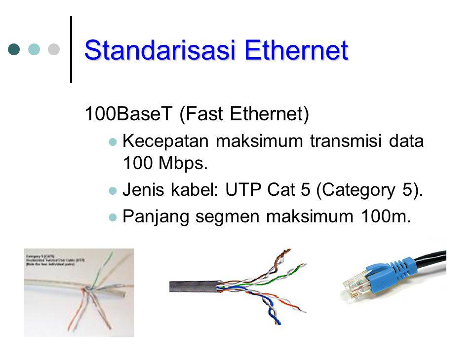 Standarisasi Ethernet 100BaseT (Fast Ethernet) Kecepatan maksimum transmisi data 100 Mbps. Jenis kabel: UTP Cat 5 (Category 5). Panjang segmen maksimu