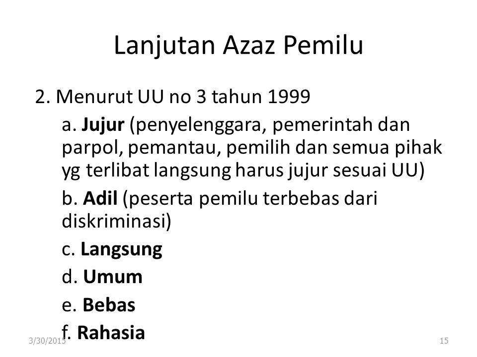 Lanjutan Azaz Pemilu 2. Menurut UU no 3 tahun 1999 a. Jujur (penyelenggara, pemerintah dan parpol, pemantau, pemilih dan semua pihak yg terlibat langs