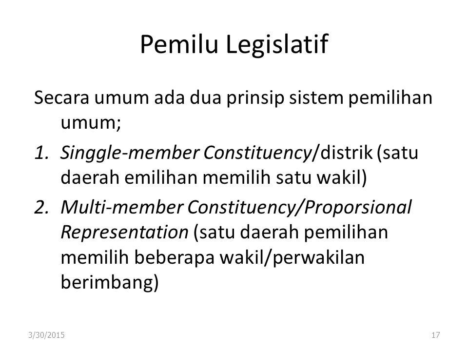 Pemilu Legislatif Secara umum ada dua prinsip sistem pemilihan umum; 1.Singgle-member Constituency/distrik (satu daerah emilihan memilih satu wakil) 2